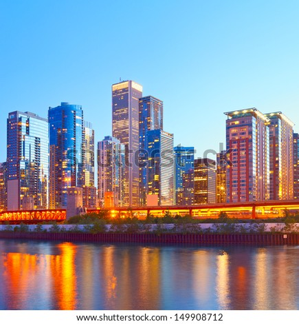 Chicago Illinois, USA, colorful sunset over downtown buildings - stock photo