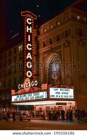 Chicago, Illinois, USA - June 30, 2011, The landmark Chicago Theater in the Loop area of Chicago, Illinois showing patrons departing after an event