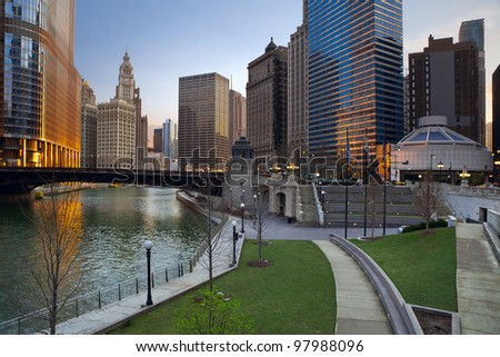 Chicago. Image of Chicago downtown riverfront at sunrise. - stock photo