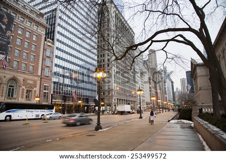 CHICAGO- JAN 29: Downtown of Chicago city January 29th, 2015. Downtown of American city - stock photo