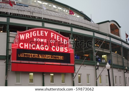 CHICAGO- JUNE 18: Historical baseball's Wrigley Field exterior on June 18, 2010 in Chicago, Illinois. - stock photo
