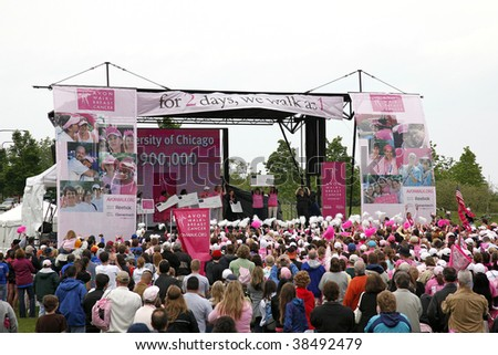 CHICAGO - JUNE 13: Participants and guests celebrating after the final ceremony speeches at Avon Walk for Breast Cancer at Soldier Field on June 13 2009 in Chicago, IL. - stock photo