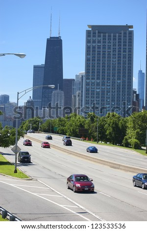 CHICAGO - JUNE 18: The Chicago skyline on June 18, 2011 in Chicago, Illinois. The city of Chicago was incorporated as a city in 1837. It is the third most populous metropolis in the United States. - stock photo