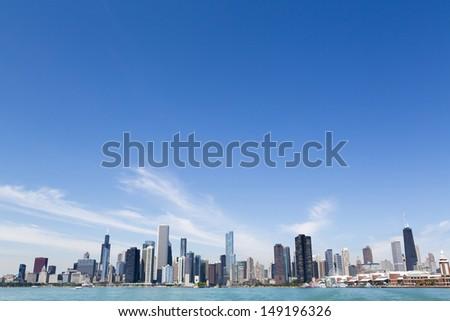 Chicago lakeshore skyline with boat marina - stock photo