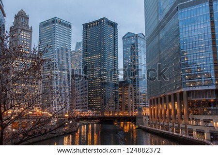 Chicago Loop is one of 77 officially designated community areas located in the City of Chicago, Illinois, United States. It is the historic commercial center of Downtown Chicago. - stock photo