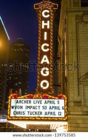 CHICAGO - MARCH 17 : The famous Chicago Theater on State Street on March 17, 2013 in Chicago, Illinois, The iconic marquee often appears in film and television