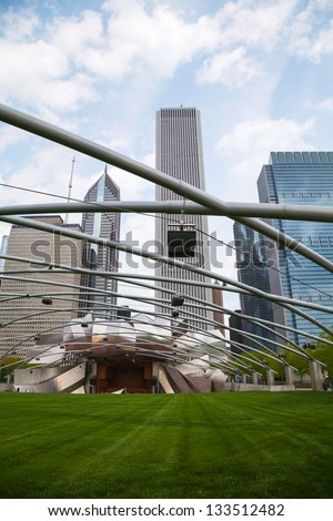 CHICAGO - MAY 03: Jay Pritzker Pavilion in Millennium Park on May 03, 2012 in Chicago. It serves as the new home of the Grant Park Symphony Orchestra and Chorus and the Grant Park Music Festival.
