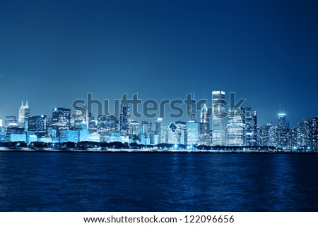 Chicago Night Skyline as Financial District - stock photo