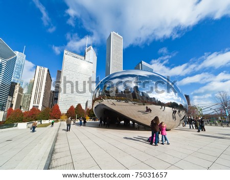 CHICAGO - NOVEMBER 14: Millennium Park in downtown Chicago on Nov. 14, 2010. Completed in 2004, it cost $475 million and is a major construction project since the 1893 World's Exposition. - stock photo