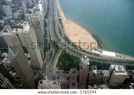 Chicago - Oak Street Beach - View from John Hancock center - stock photo