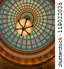 CHICAGO - OCTOBER 14: World's largest Tiffany glass dome ceiling in the Cultural Center on October 14, 2012 in Chicago, Illinois - stock photo