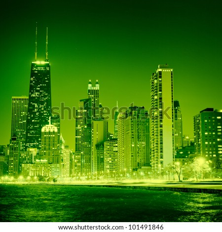 Chicago on St Patrick's Day - stock photo