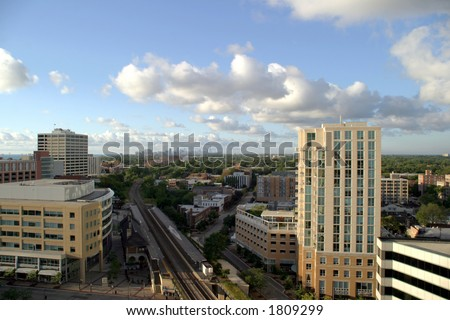 Chicago on the Horizon - View from downtown Evanston - stock photo