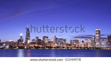 Chicago panoramic at night - stock photo