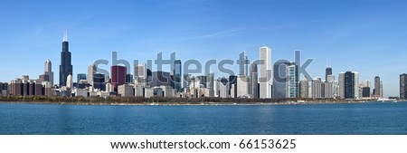 Chicago - Panoramic view from Lake Michigan - stock photo