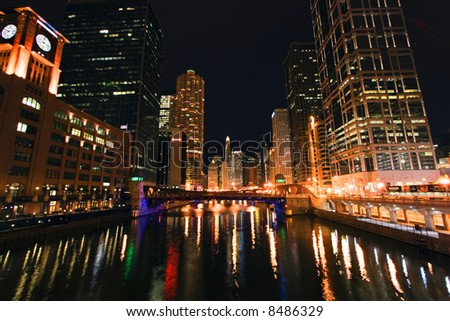 Chicago reflected in river - stock photo