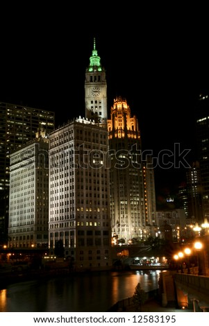 Chicago River at Night, and the Wrigley Building in Lights