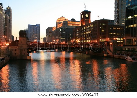 Chicago River at Sunset - stock photo