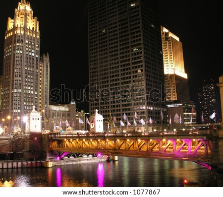 Chicago River Bridge over Michigan Avenue at night - stock photo
