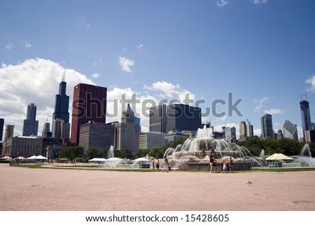 Chicago's Buckingham Fountain with a deep blue sky above