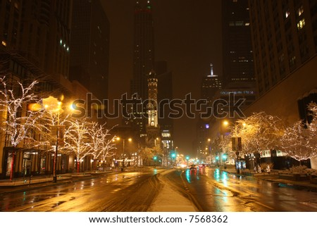 Chicago's Michigan Avenue at Night in a Snow Storm - stock photo
