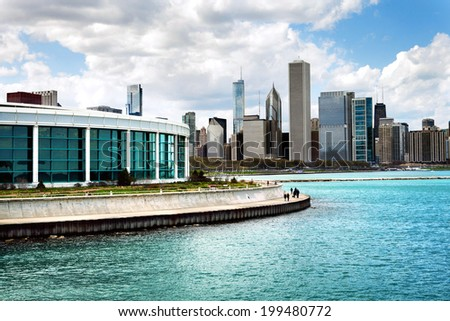 Chicago's Shedd Aquarium with Lake Michigan and skyline - stock photo