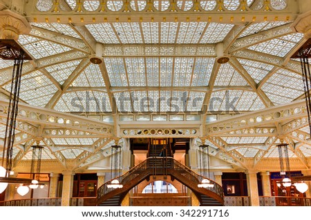 Chicago - September 8, 2015: Lobby in the Rookery Building, a historic landmark located at 209 South LaSalle Street in the Loop community area of Chicago in Cook County, Illinois, United States. - stock photo