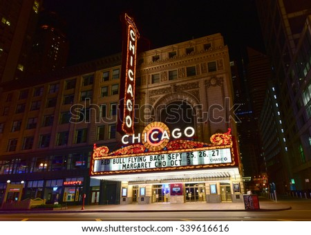 Chicago - September 6, 2015: The famous Chicago Theater on State Street in Chicago, Illinois. Opened in 1921, the theater was renovated in the 1980's at a cost of $4.3 million. - stock photo