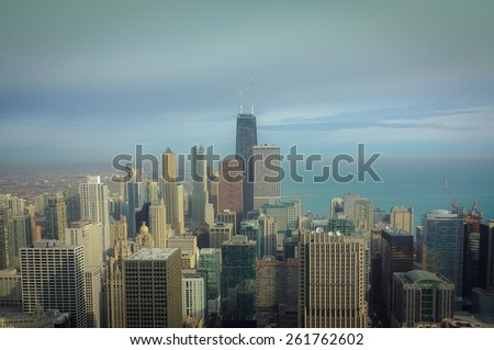Chicago skyline , a unique perspective,Artistic Instagram style processing - stock photo