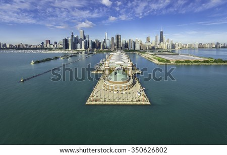 Chicago Skyline aerial view of Navy Pier - stock photo