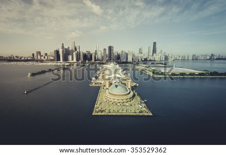 Chicago Skyline aerial view of Navy Pier - desaturated vintage colors - stock photo
