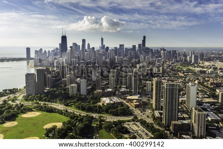 Chicago Skyline aerial view with downtown skyscrapers - stock photo