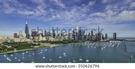 Chicago Skyline aerial view with park and marina with boats - stock photo