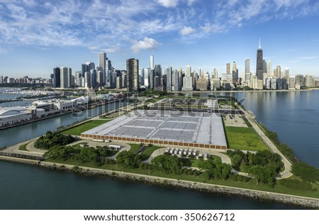 Chicago Skyline aerial view with pier and park - stock photo