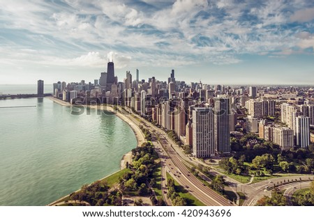 Chicago Skyline aerial view with road by the beach, vintage colors - stock photo