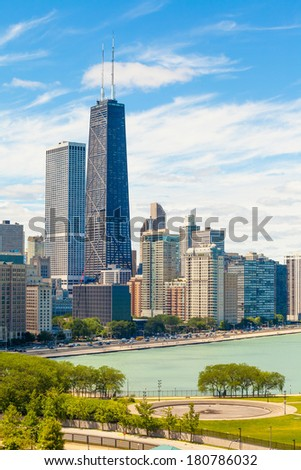 Chicago skyline aerial view with skyscrapers over Lake Michigan  - stock photo