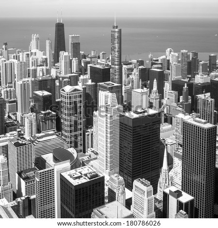 Chicago skyline aerial view with skyscrapers over Lake Michigan black and white. - stock photo