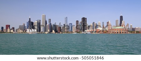 Chicago skyline and Lake Michigan, Illinois, USA