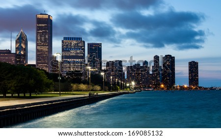 Chicago skyline and lake shore drive at night - stock photo