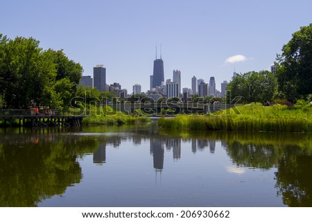 Chicago skyline as seen from Lincoln Park Zoo - stock photo