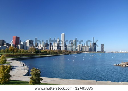 Chicago skyline as seen from the Adler Planetarium - stock photo