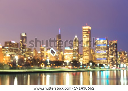 Chicago Skyline at Night- Blurred Photo bokeh