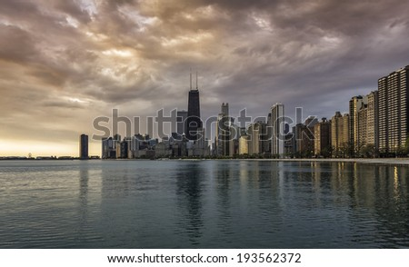 Chicago skyline at sunrise - stock photo
