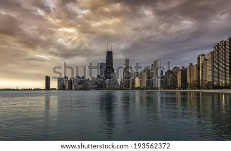 Chicago skyline at sunrise - stock photo