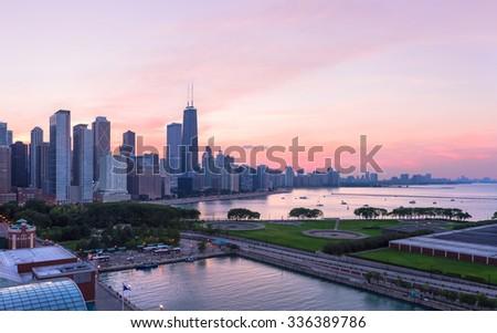 Chicago skyline at sunset - stock photo