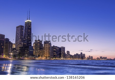 Chicago skyline by dusk - stock photo