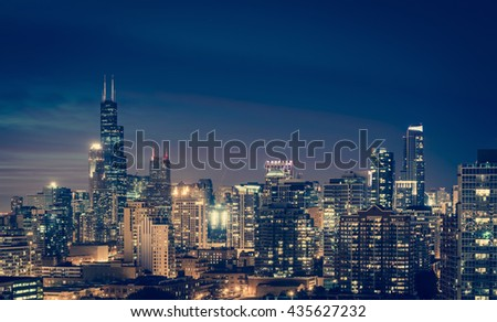 Chicago Skyline by night, vintage colors