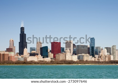 Chicago Skyline - captured on a sunny spring morning showcasing the city's skyscrapers and varied architectural styles.  Room for your copy in the clear blue sky if needed. - stock photo