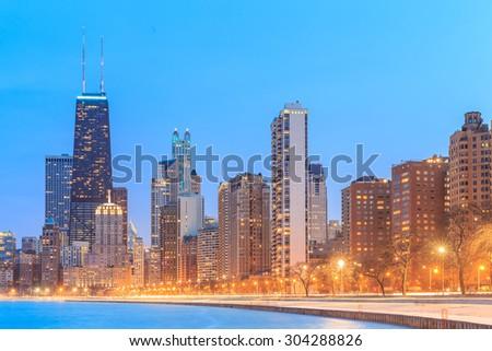 Chicago skyline. Chicago downtown skyline at dusk. - stock photo