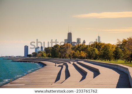 Chicago skyline from north  side - stock photo